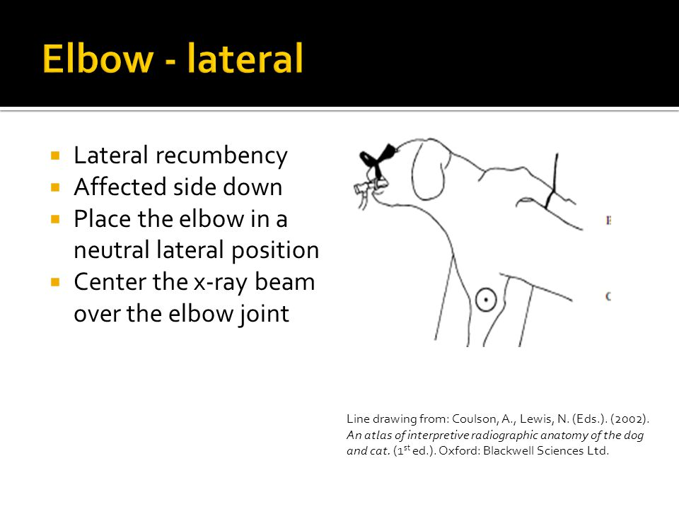 Elbow - lateral Lateral recumbency Affected side down