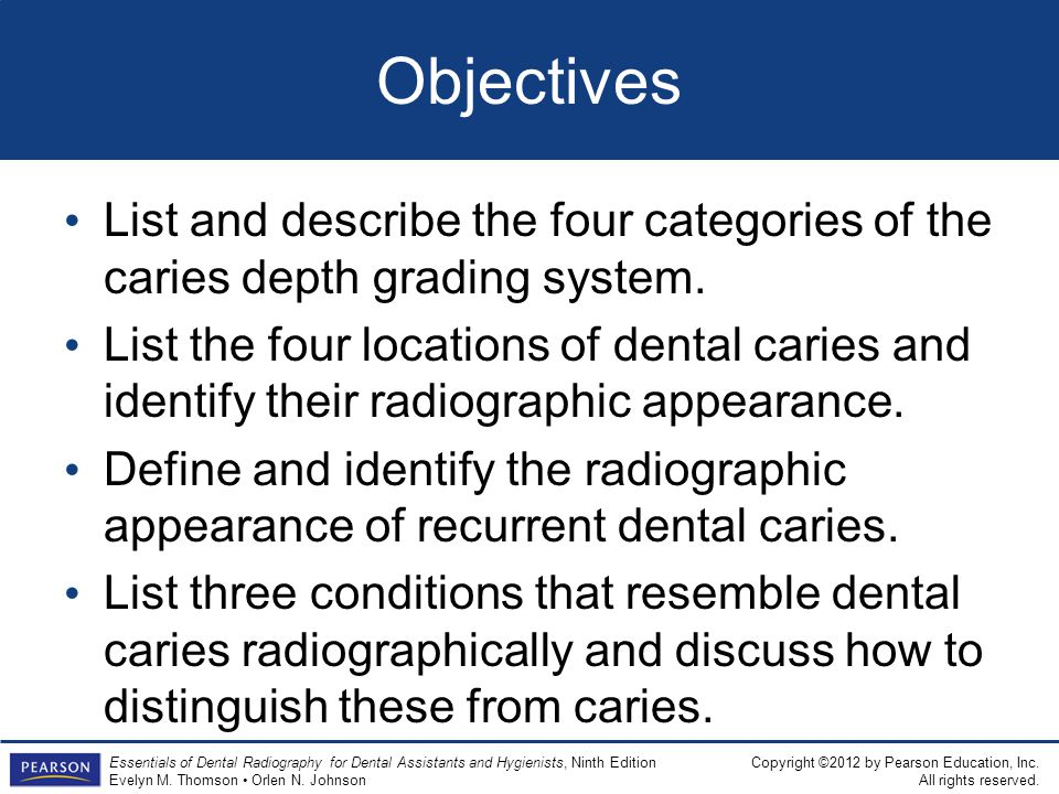 Objectives List and describe the four categories of the caries depth grading system.