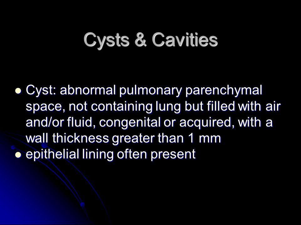Cysts & Cavities