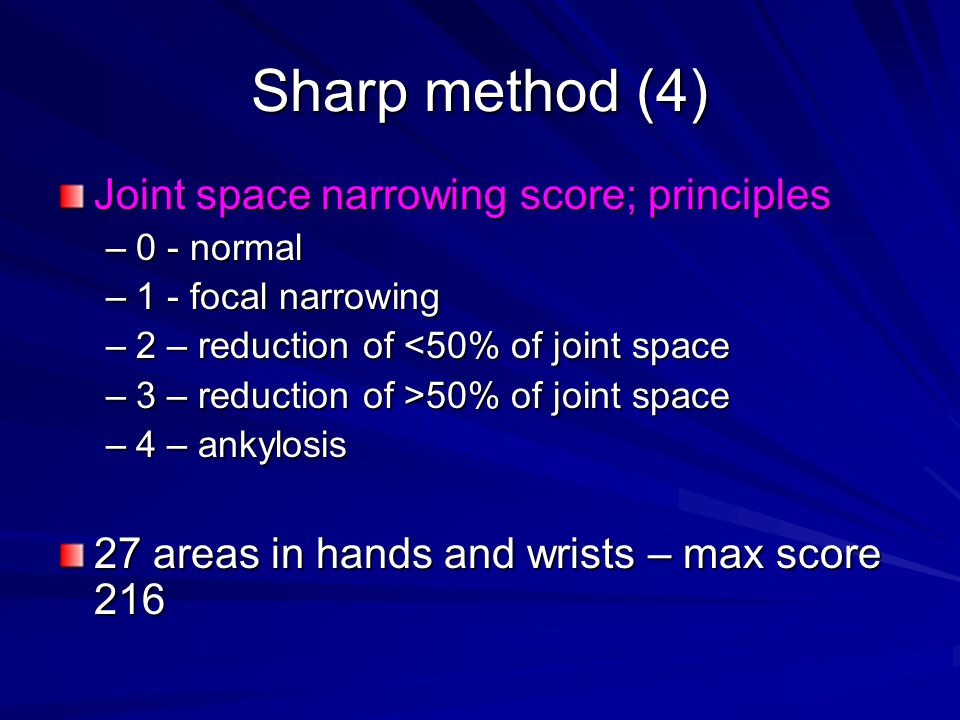 Sharp method (4) Joint space narrowing score; principles