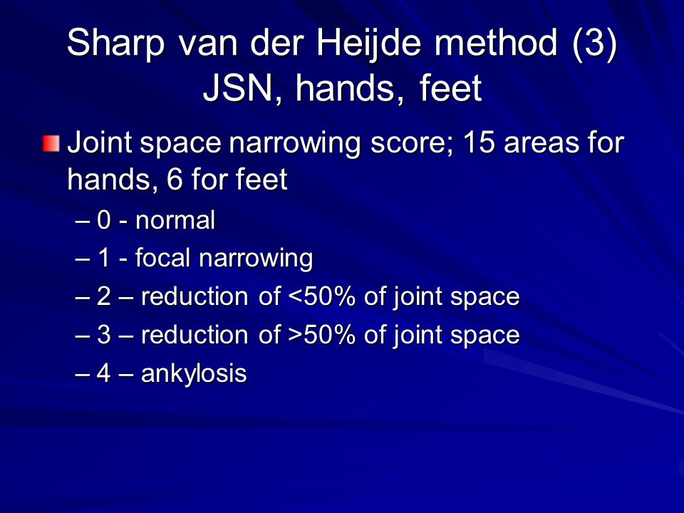 Sharp van der Heijde method (3) JSN, hands, feet