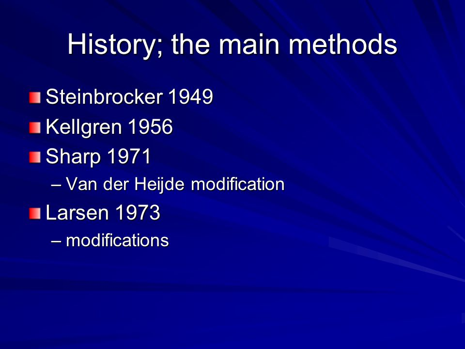 History; the main methods