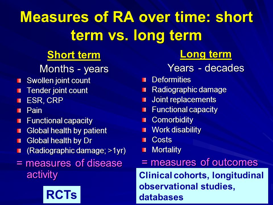 Measures of RA over time: short term vs. long term