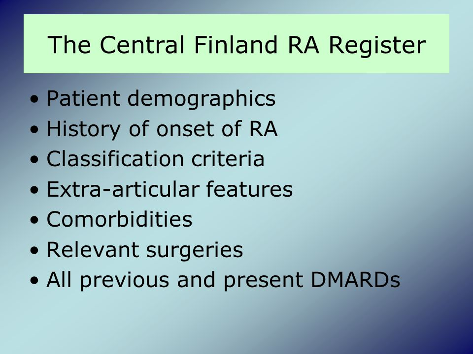 The Central Finland RA Register