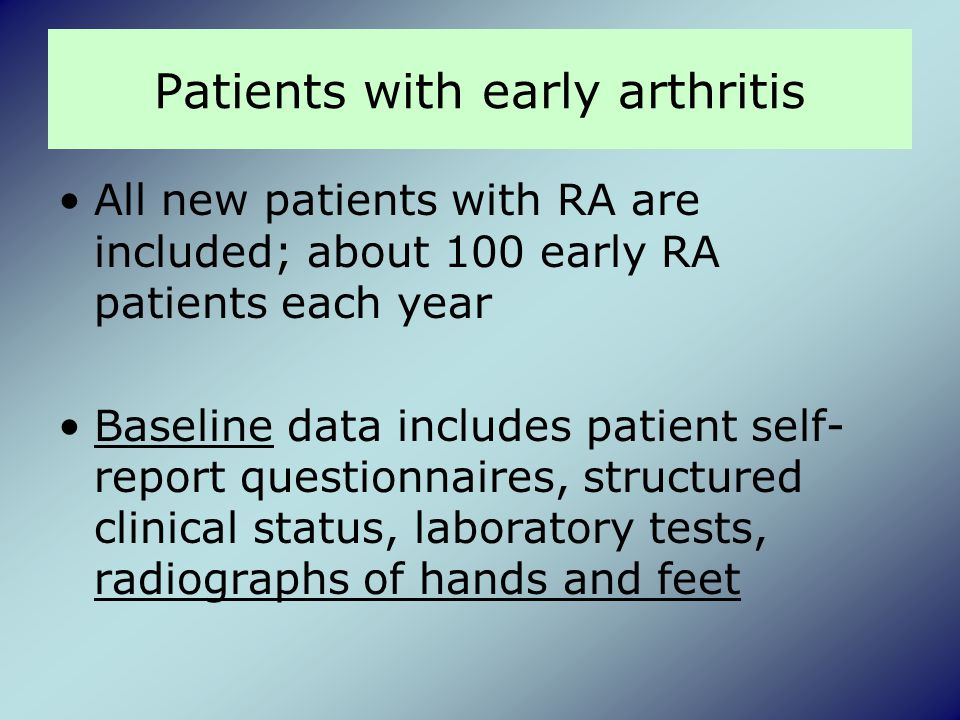 Patients with early arthritis