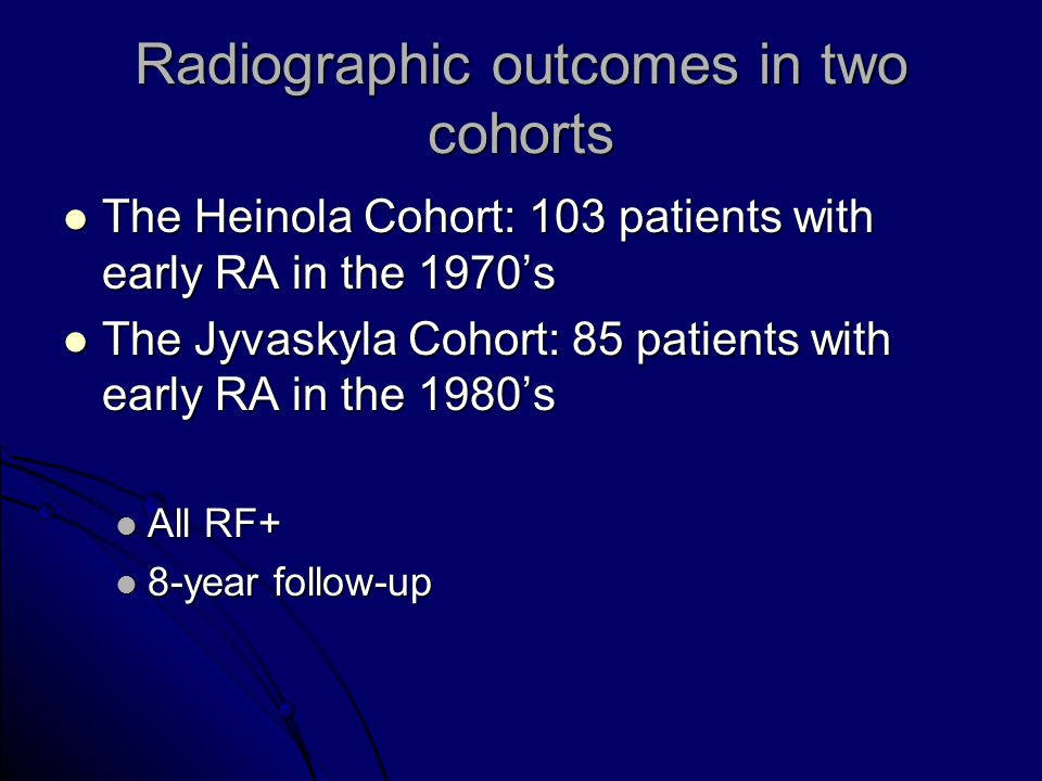 Radiographic outcomes in two cohorts