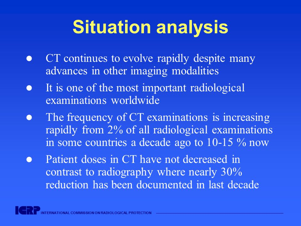 Situation analysis CT continues to evolve rapidly despite many advances in other imaging modalities.