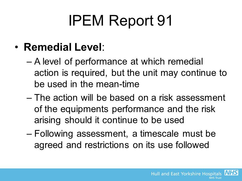 IPEM Report 91 Remedial Level: