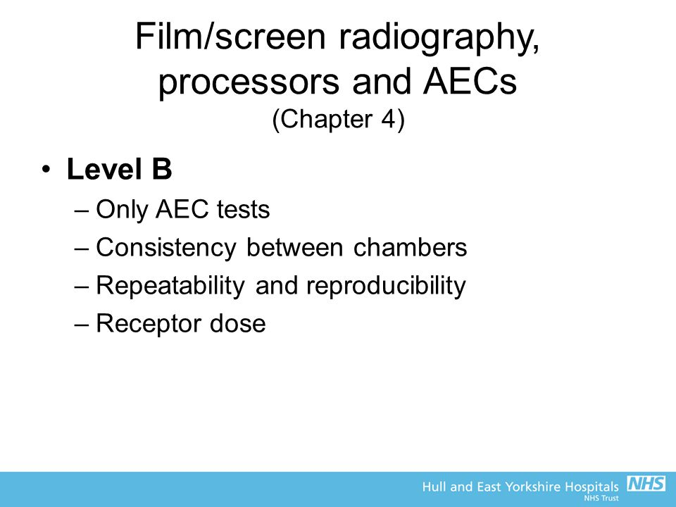 Film/screen radiography, processors and AECs (Chapter 4)