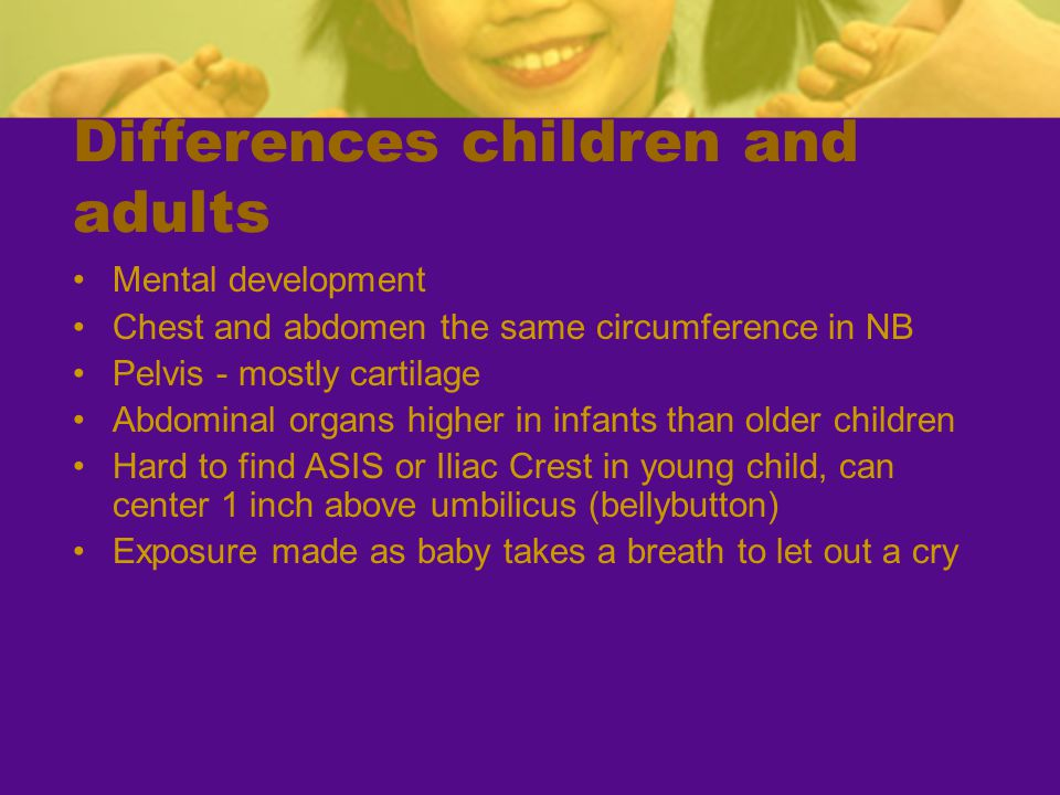 Differences children and adults