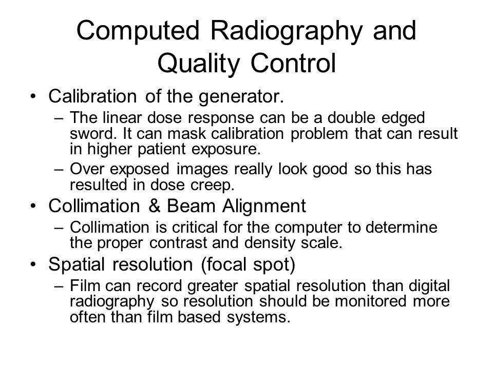 Computed Radiography and Quality Control