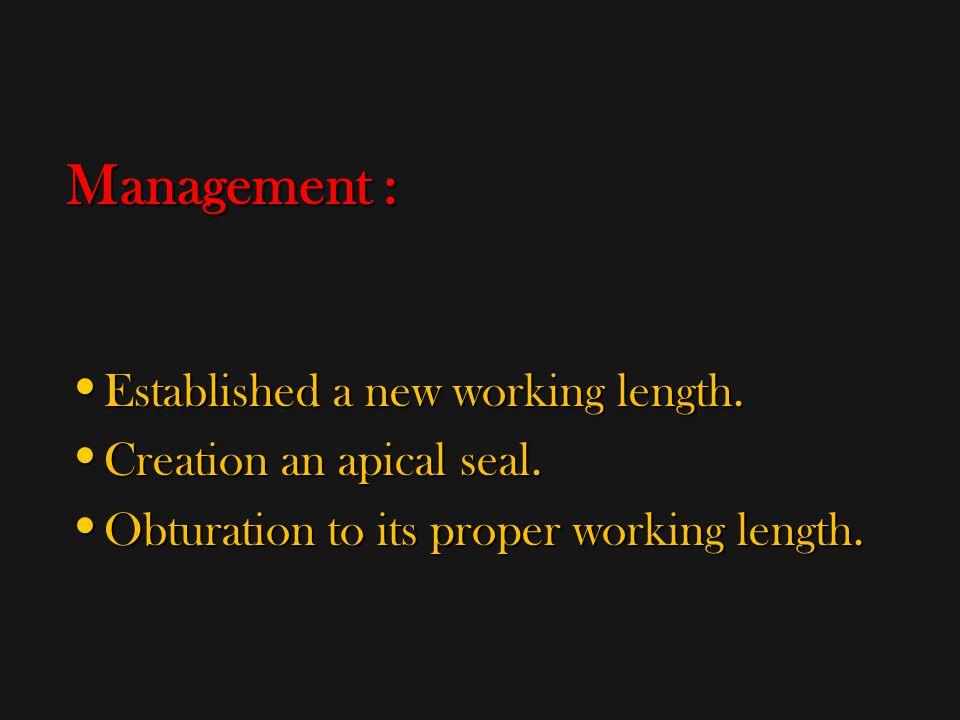 Management : Established a new working length.