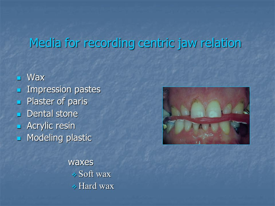 Media for recording centric jaw relation
