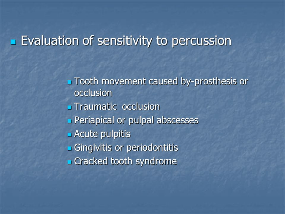 Evaluation of sensitivity to percussion