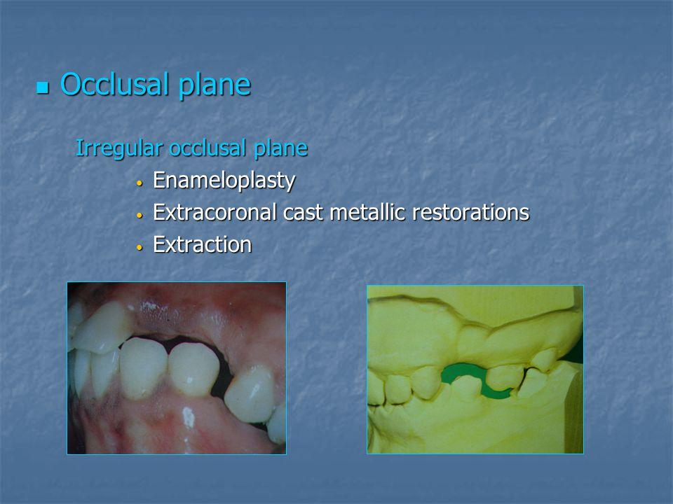 Occlusal plane Enameloplasty Extracoronal cast metallic restorations