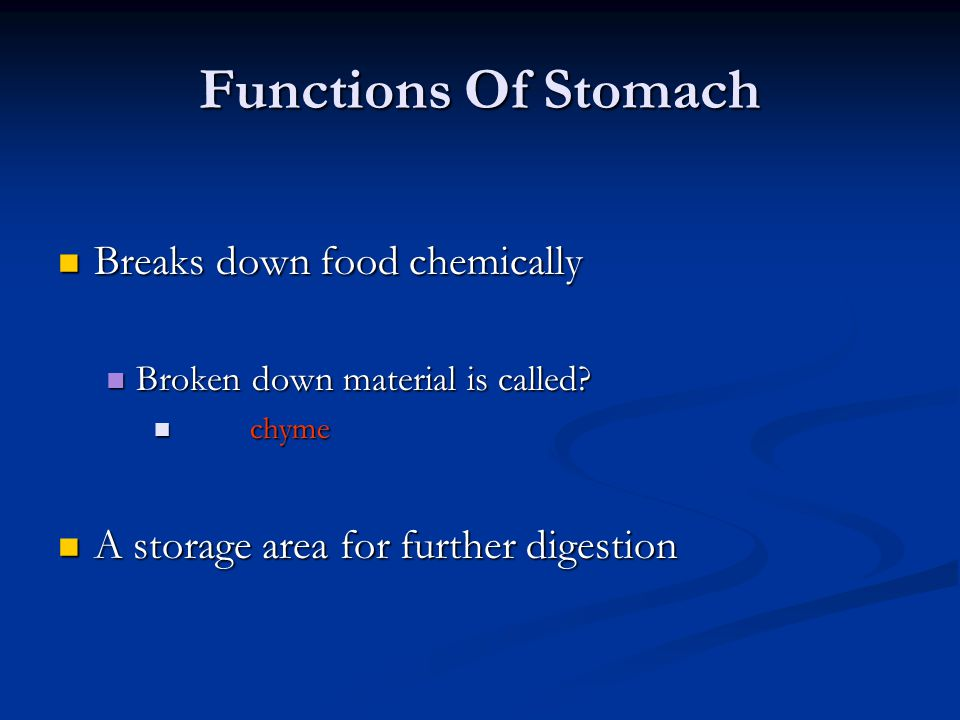 Functions Of Stomach Breaks down food chemically