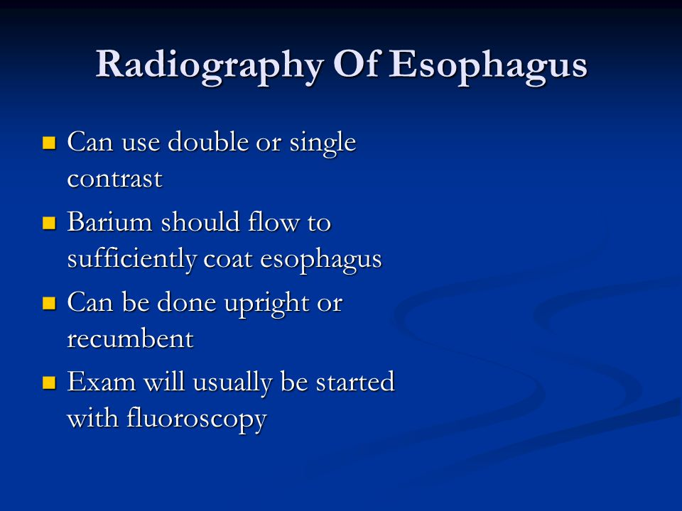 Radiography Of Esophagus