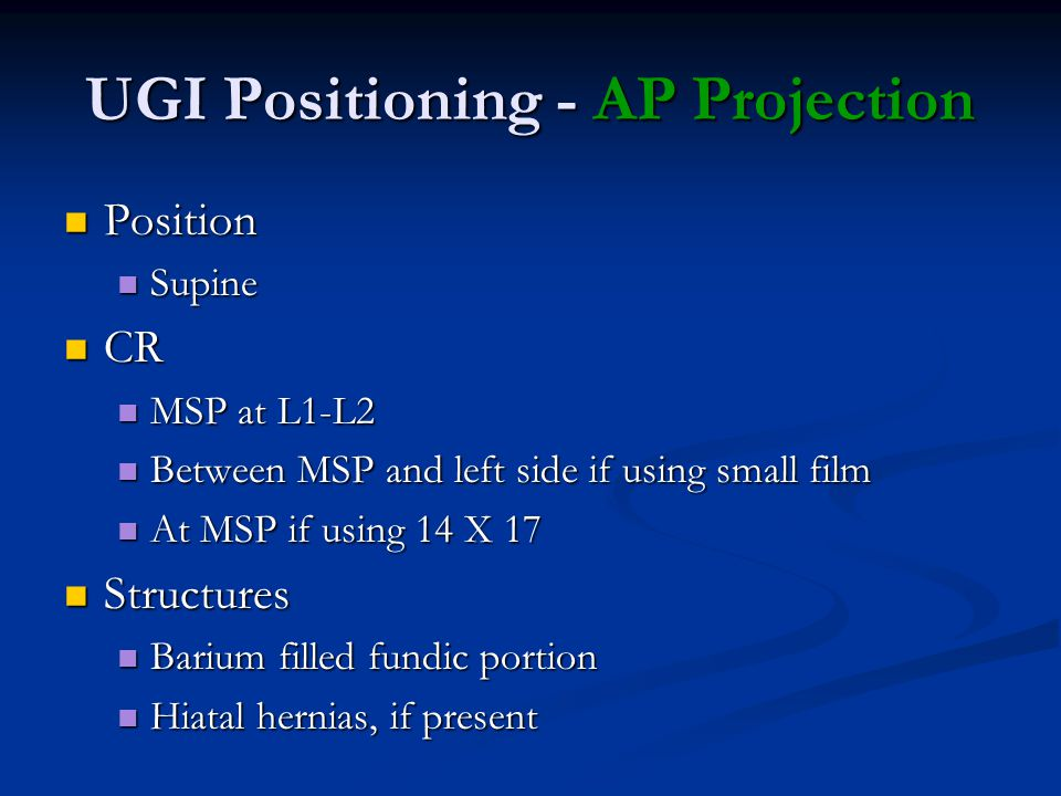 UGI Positioning - AP Projection