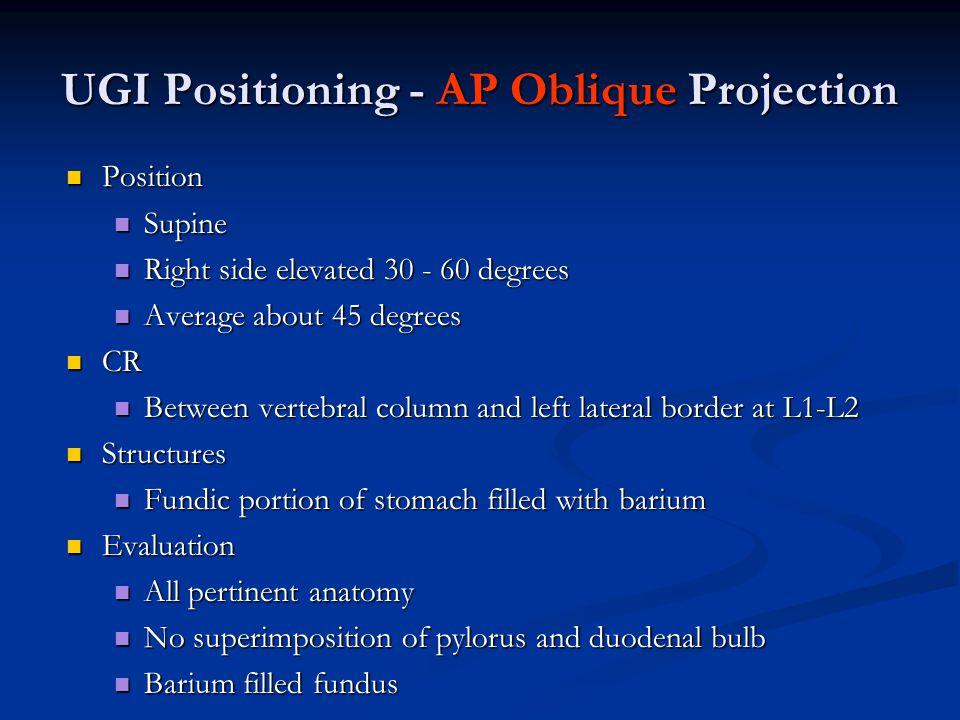 UGI Positioning - AP Oblique Projection