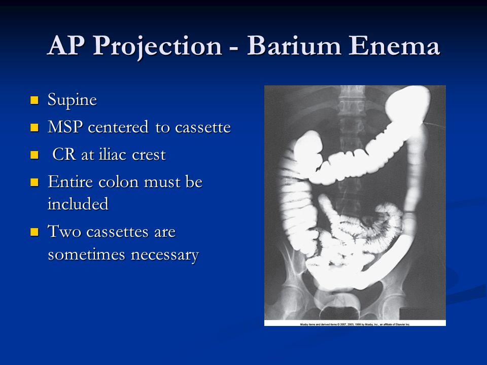 AP Projection - Barium Enema