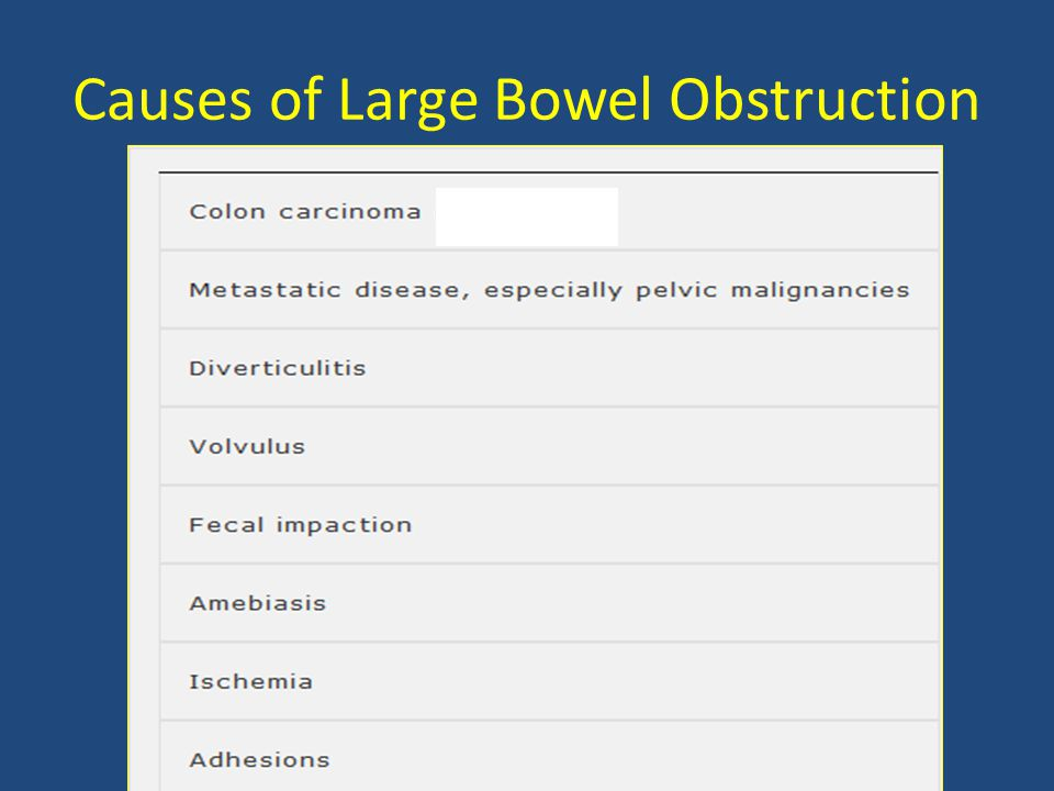 Causes of Large Bowel Obstruction