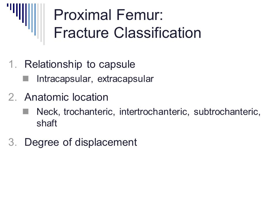Proximal Femur: Fracture Classification