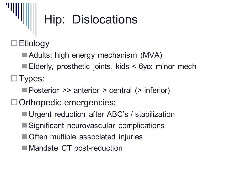 Hip: Dislocations Etiology Types: Orthopedic emergencies: