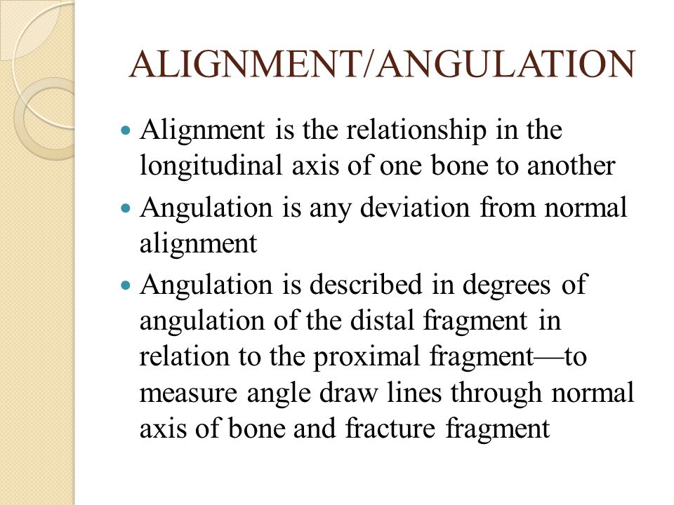 ALIGNMENT/ANGULATION