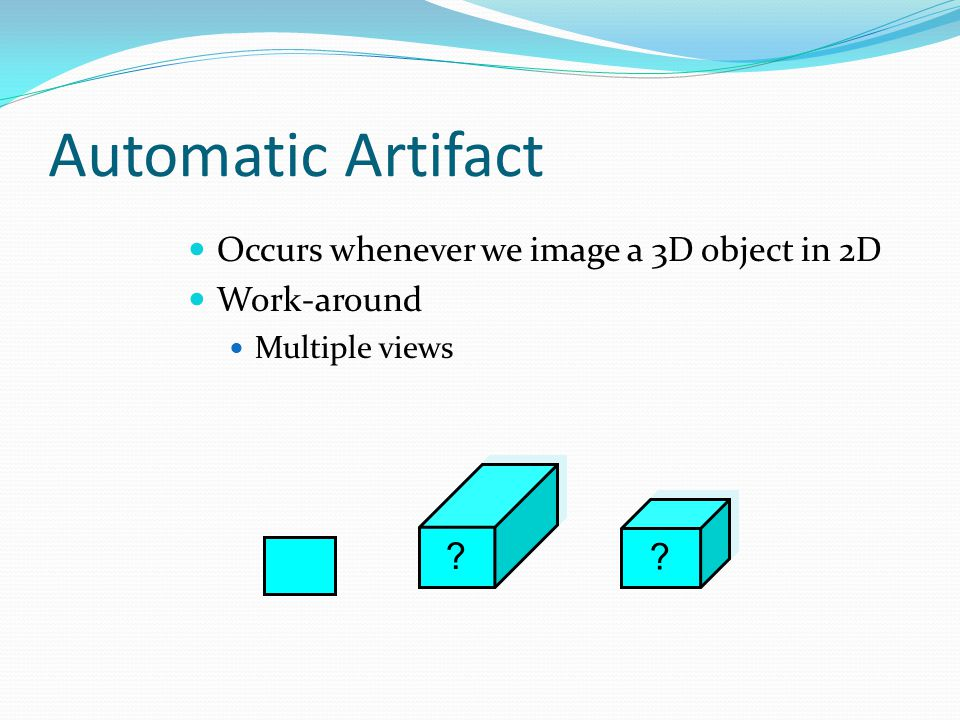 Automatic Artifact Occurs whenever we image a 3D object in 2D