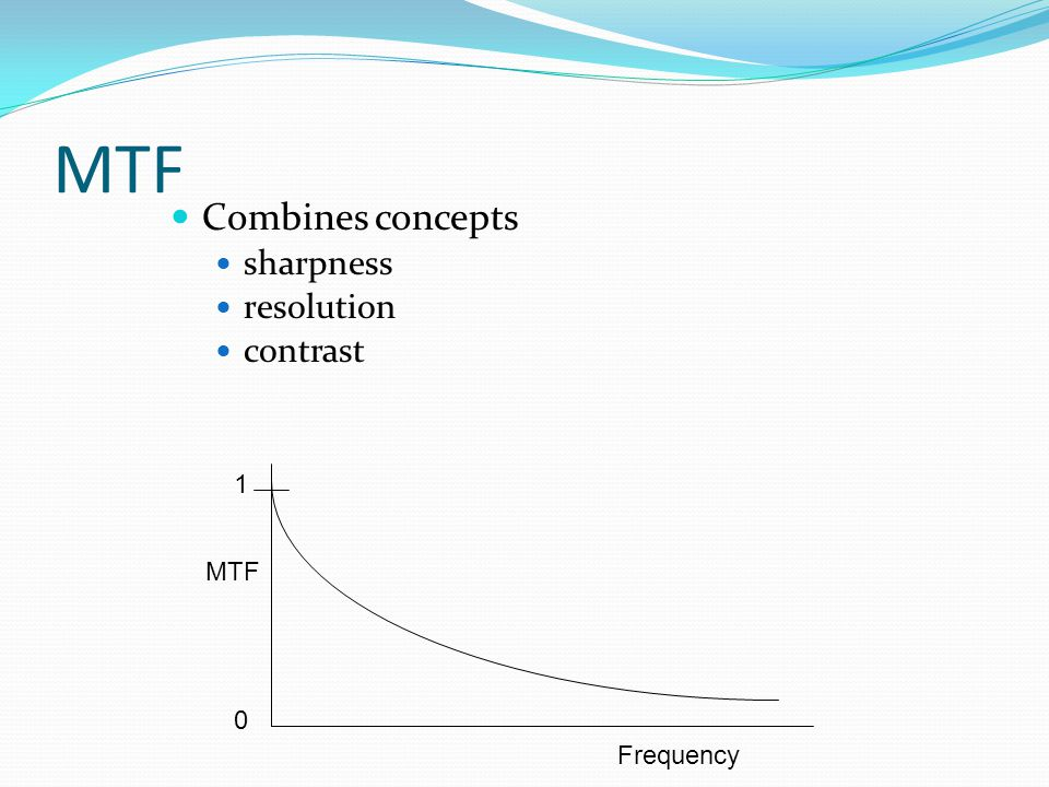 MTF Combines concepts sharpness resolution contrast 1 MTF Frequency