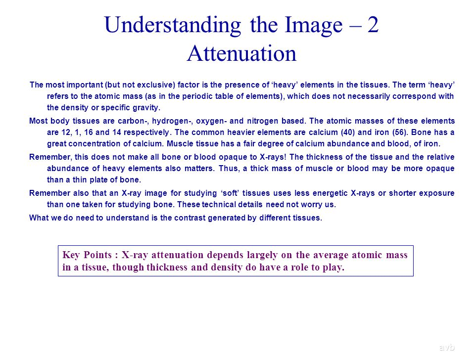 Understanding the Image – 2 Attenuation