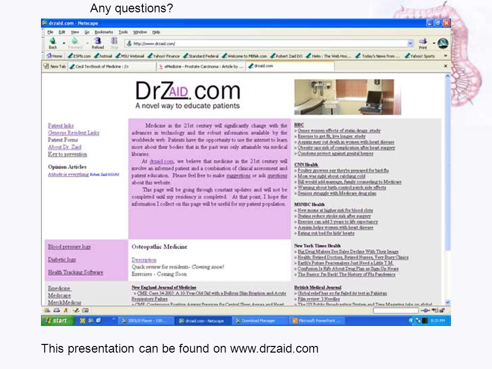 Any questions This presentation can be found on www.drzaid.com