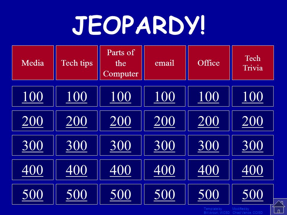 JEOPARDY! Media. Tech tips. Parts of the Computer. email. Office. Tech Trivia. 100. 100. 100.