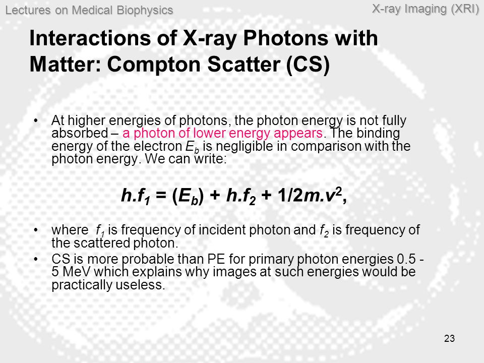 Interactions of X-ray Photons with Matter: Compton Scatter (CS)
