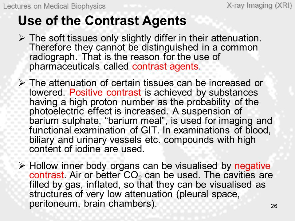 Use of the Contrast Agents