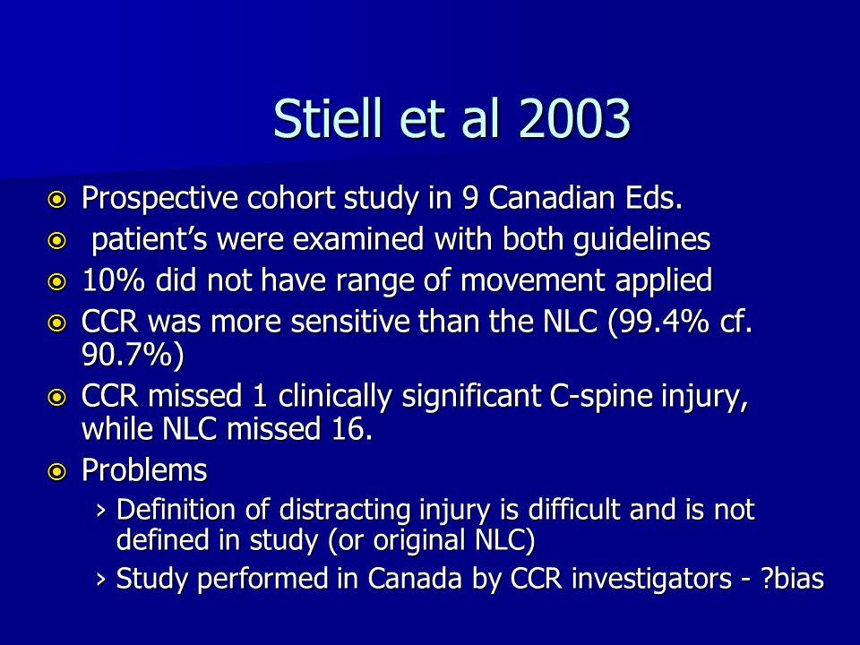 Stiell et al 2003 Prospective cohort study in 9 Canadian Eds.