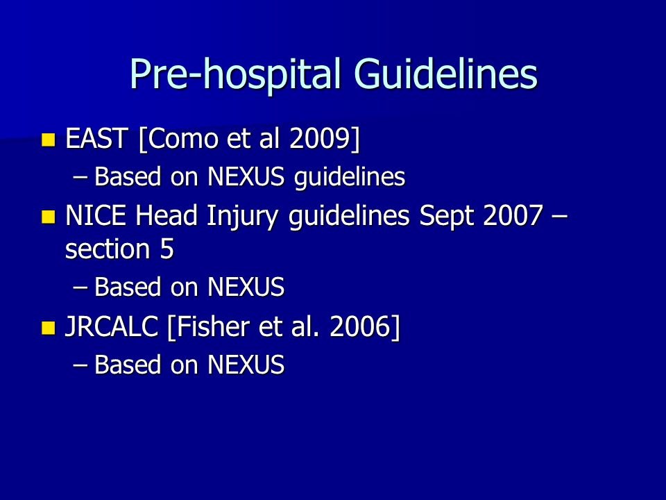 Pre-hospital Guidelines