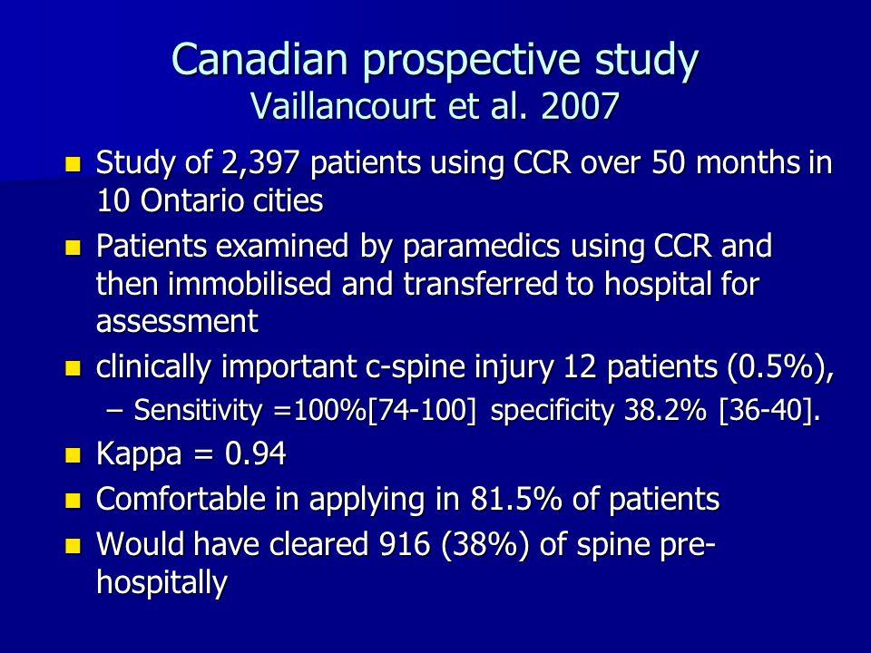Canadian prospective study Vaillancourt et al. 2007