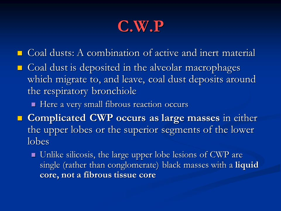 C.W.P Coal dusts: A combination of active and inert material