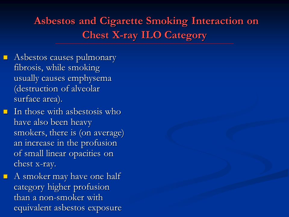 Asbestos and Cigarette Smoking Interaction on Chest X-ray ILO Category
