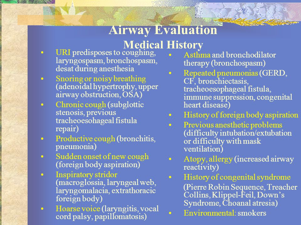 Airway Evaluation Medical History