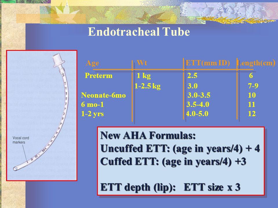 Endotracheal Tube New AHA Formulas: Uncuffed ETT: (age in years/4) + 4