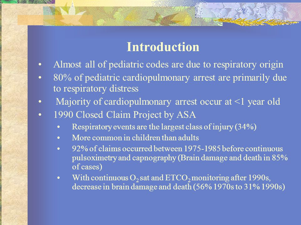 Introduction Almost all of pediatric codes are due to respiratory origin.