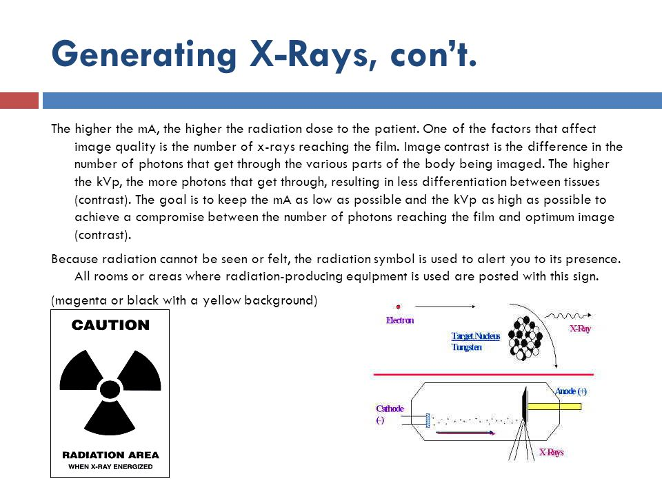 Generating X-Rays, con't.