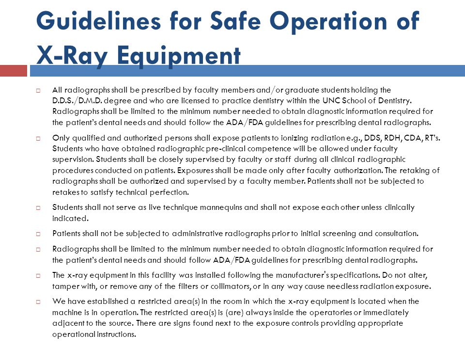 Guidelines for Safe Operation of X-Ray Equipment