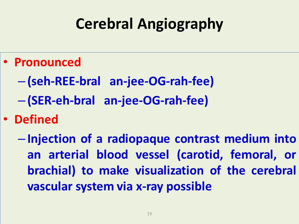 Cerebral Angiography Pronounced (seh-REE-bral an-jee-OG-rah-fee)
