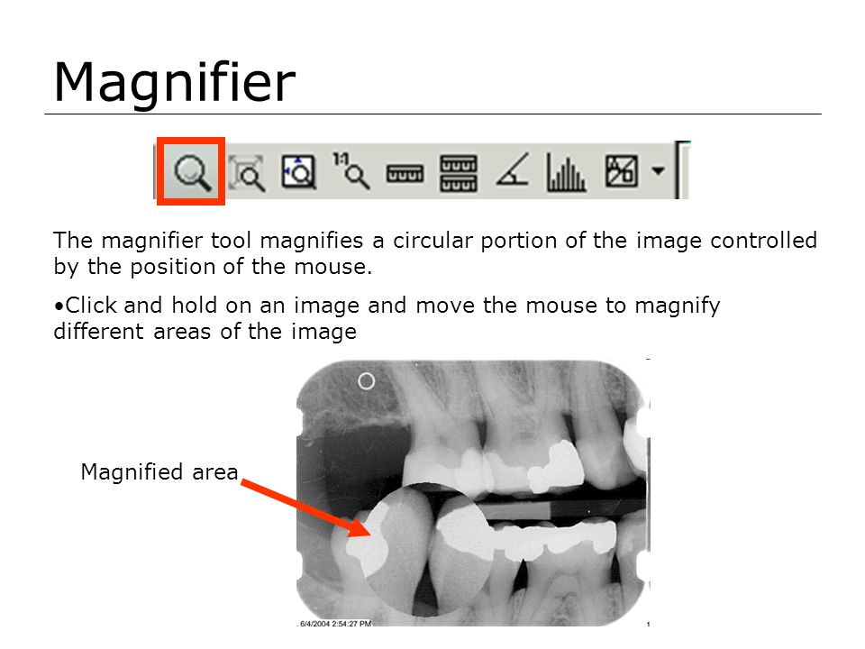 Magnifier The magnifier tool magnifies a circular portion of the image controlled by the position of the mouse.