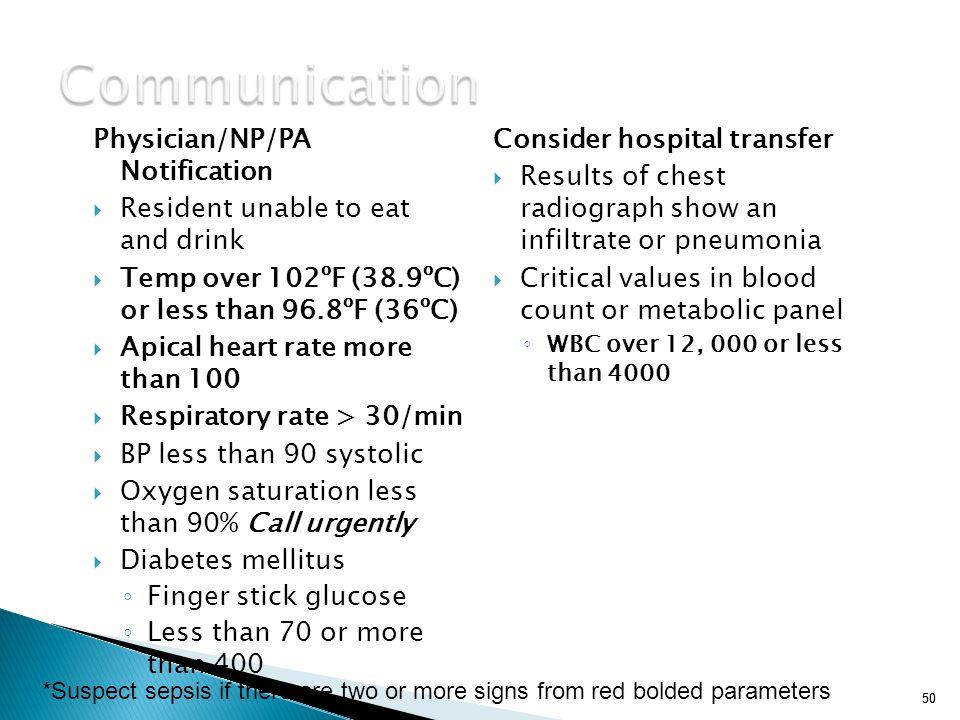 Communication Physician/NP/PA Notification