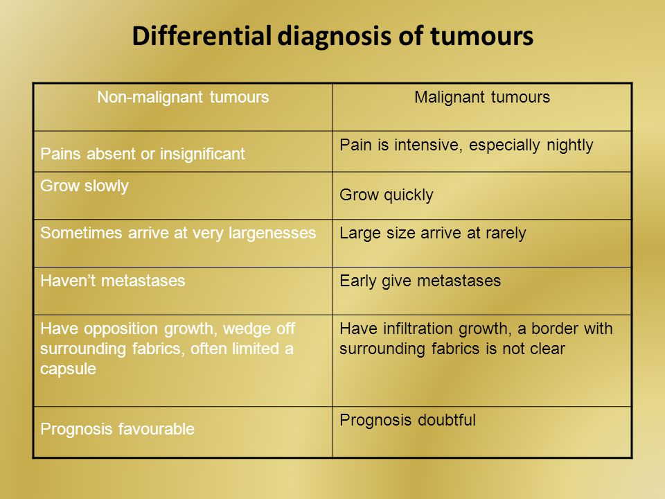 Differential diagnosis of tumours