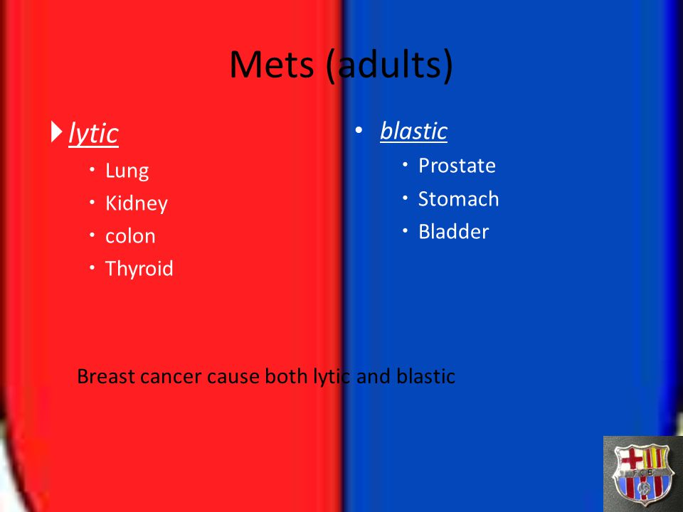 Mets (adults) lytic blastic Prostate Lung Stomach Kidney Bladder colon